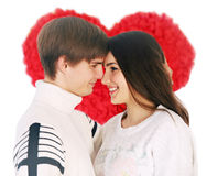 Couple on the background of a large heart Stock Photography