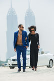 Couple on the background of skyscrapers Stock Photography