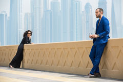 Couple on the background of skyscrapers Royalty Free Stock Photo