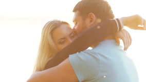 Couple in backit sun stock video