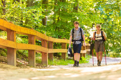 Couple backpacker hiking in forest pathway. Adventure, tourism active lifestyle- young couple backpacker hiking in forest pathway Royalty Free Stock Image