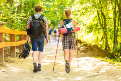 Couple backpacker hiking in forest pathway Royalty Free Stock Photos
