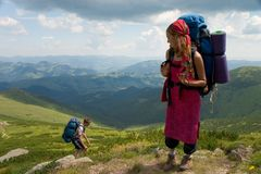 Couple of backpackers Stock Photo