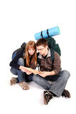 Couple backpacking Stock Images