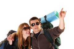 Couple on the backpacking vacations. Royalty Free Stock Image