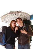 Couple on the backpacking vacations. Royalty Free Stock Photos