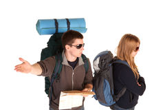 Couple on the backpacking vacations. Stock Photography