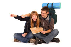 Couple on the backpacking vacations. Royalty Free Stock Photo
