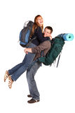 Couple on the backpacking vacations. Royalty Free Stock Images