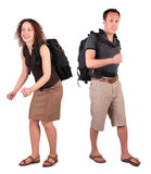 Couple with backpacks Stock Photo