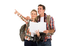 Couple backpacks map Royalty Free Stock Photo