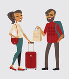 Couple with baggage Stock Image