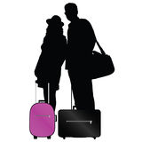 Couple with bags to travel vector Royalty Free Stock Photos