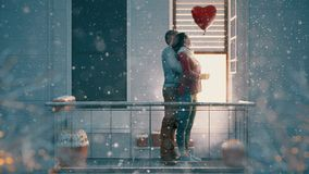 Couple on balcony on Valentine`s day stock video footage