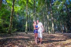 Couple at Bali tree park Royalty Free Stock Photos