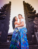 Couple at balinese temple Stock Photos