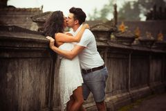 Couple at balinese temple Stock Image