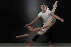 Couple Ballerina Ballet Dancer Dancing On Black Background Royalty Free Stock Photography