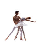 Couple of ballet dancers isolated on white Royalty Free Stock Image