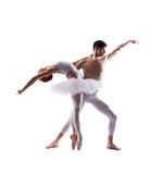 Couple of ballet dancers isolated on white Stock Images