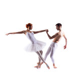 Couple of ballet dancers isolated on white Stock Photos