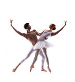 Couple of ballet dancers isolated on white Royalty Free Stock Photography