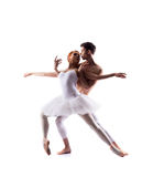 Couple of ballet dancers isolated on white Stock Photography