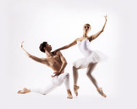 Couple of ballet dancers on a light background Stock Photo
