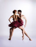 Couple of ballet dancers on a light background Stock Image
