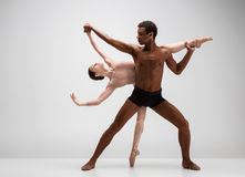 Couple of ballet dancers posing over gray background Stock Image