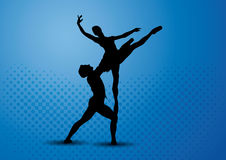 Couple ballet dancers silhouette. An abstract illustration of man and woman dancing ballet, with blue, cyan and black background. Dancer holds his ballet partner Royalty Free Stock Photo