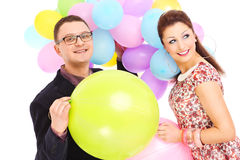 Couple with ballons Royalty Free Stock Images