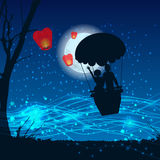 Couple in a balloon in the moonlight. illustration Royalty Free Stock Images