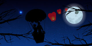 Couple in a balloon and trees. illustration Stock Photo