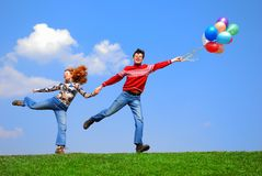 Couple with balloons Stock Photo