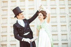 Couple in ballroom costumes royalty free stock photo