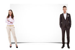 Couple with banner Stock Images