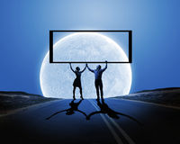 Couple with banner Stock Photo