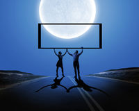 Couple with banner Stock Image
