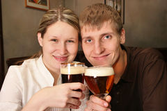 Couple in bar. With beer Stock Photography