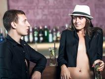 Couple in the bar stock photos