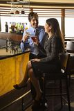 Couple at bar. Mid adult Hispanic couple toasting at bar Stock Image