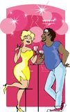 Couple in the bar. Couple enjoys of cool beverage vector illustration