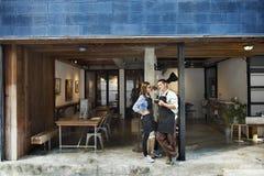 Couple Barista Coffee Shop Service Restaurant Concept royalty free stock image