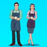 Couple of Barista with Cup of Coffee in Cafe. Pop Art retro illustration Stock Photos
