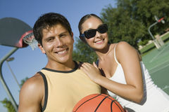 Couple At Basketball Court Royalty Free Stock Photo