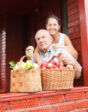 Couple with   baskets   of apples Royalty Free Stock Photos