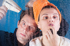 Couple after bath Stock Image