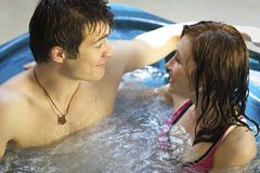 Couple bathing at jacuzzi Royalty Free Stock Photo