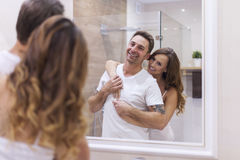 Couple in bathroom Royalty Free Stock Photos